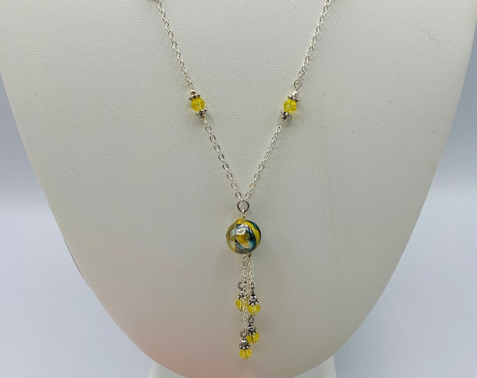 Yellow Crystal Necklace/Handmade Necklace/Silver Necklace/18inch Y-Necklace/Delicate Necklace/Simple Necklace