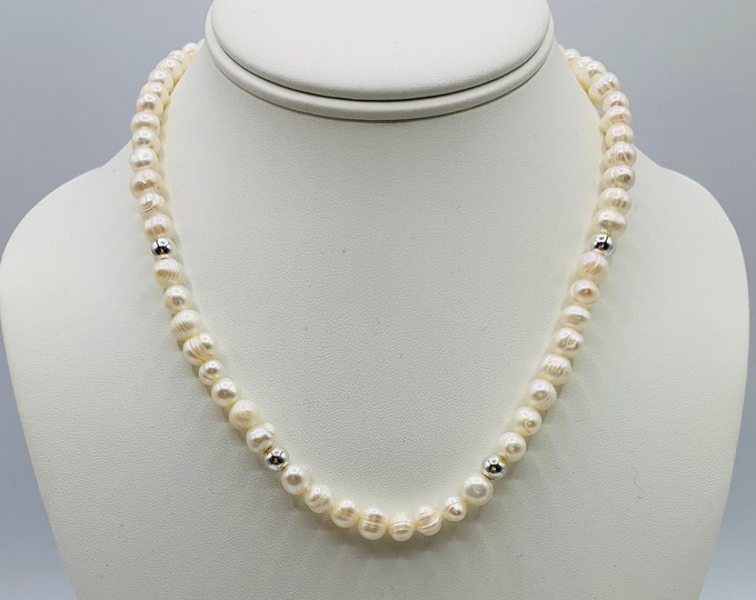 White Freshwater Pearl Sterling Silver Necklace, Handmade Necklace, 18inch Necklace, Simple Necklace, Delicate Necklace, Pearl Jewelry