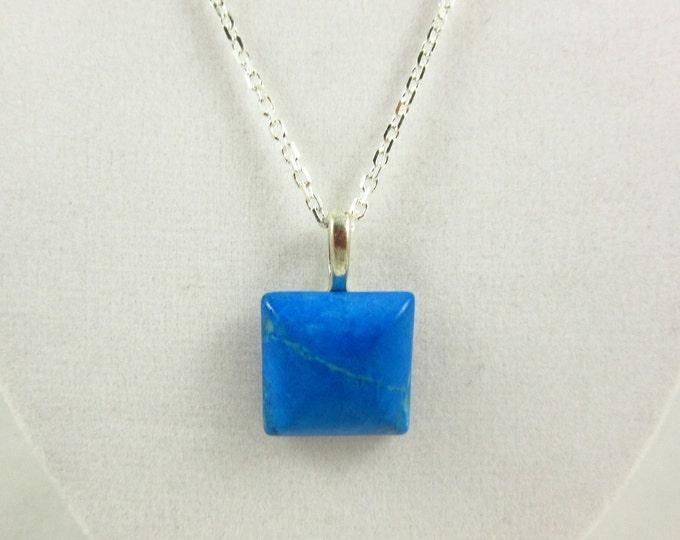 Blue Magnesite Pendant Necklace/Pendant Necklace/Silver Necklace/Custom Necklace/Handmade Necklace/Custom Jewelry/Magnesite Jewelry