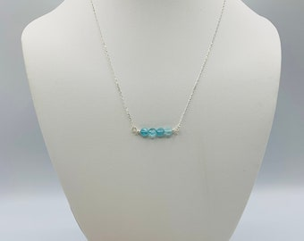 Apatite Sterling Silver Necklace, Handmade Bar Necklace, Simple Necklace, Delicate Necklace, Apatite Jewelry