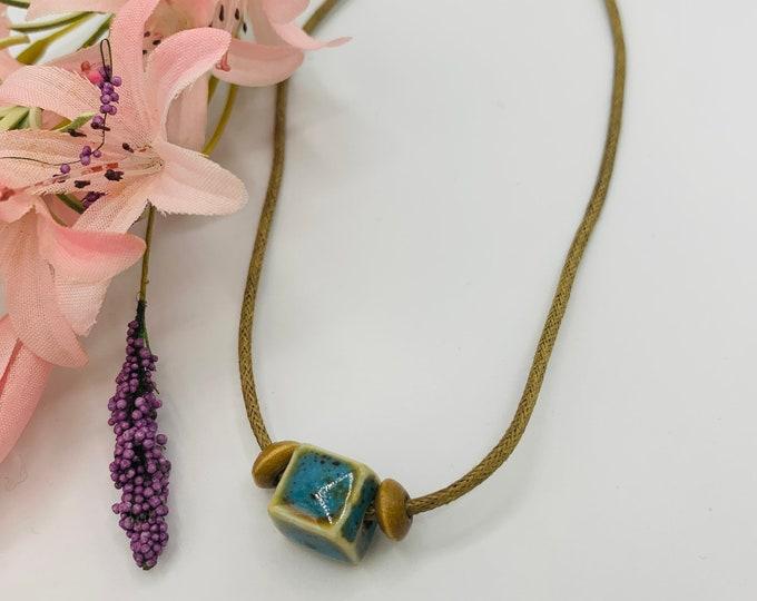Blue Ceramic Choker, Handmade Tan Cord Choker, 15inch Choker, Boho Jewelry