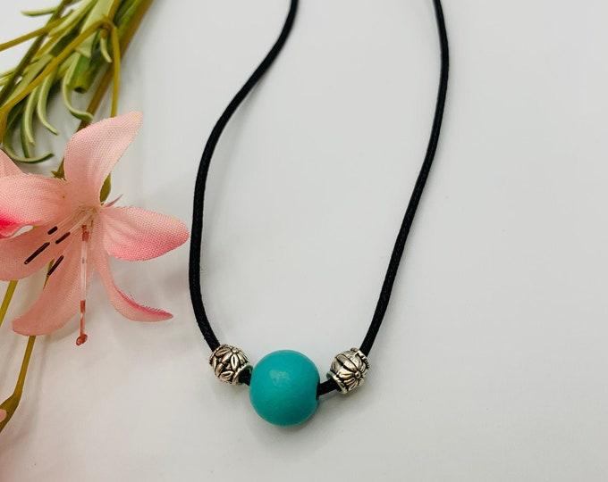 Turquoise Wood Choker, Handmade Black Cord Choker, 15inch Choker, Boho Jewelry