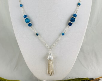 Blue Agate Y-Necklace/Handmade Silver Plated Necklace/18inch Necklace/Simple Jewelry/Agate Jewelry
