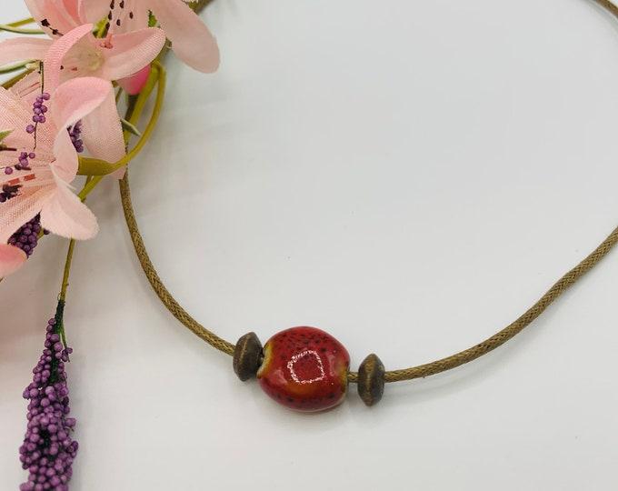 Red Ceramic Choker, Handmade Tan Cord Choker, 15inch Choker, Boho Jewelry