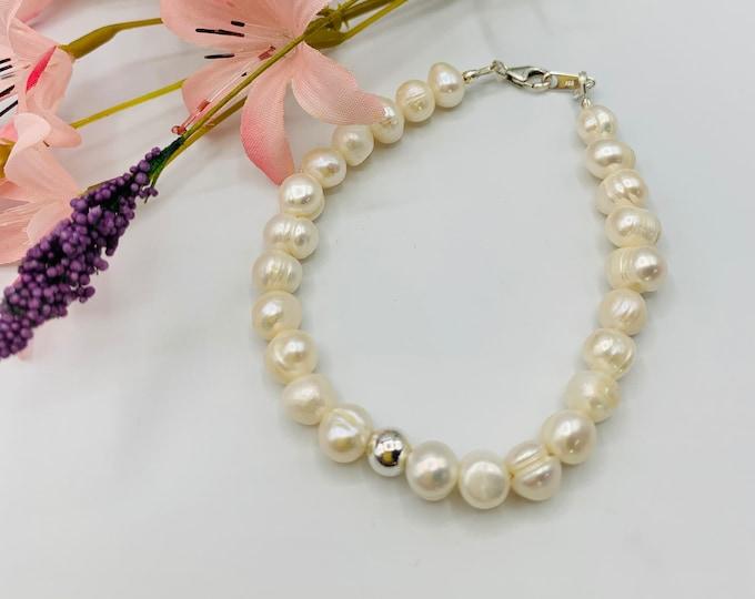 Pearl Bracelet, White Pearl Sterling Silver Bracelet, Handmade 8inch Bracelet, Simple Beaded Bracelet, Classic Bracelet, Pearl Jewelry
