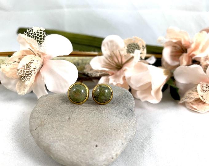 Gold Plated Unakite Stud Earrings/Small Handmade Post Earrings