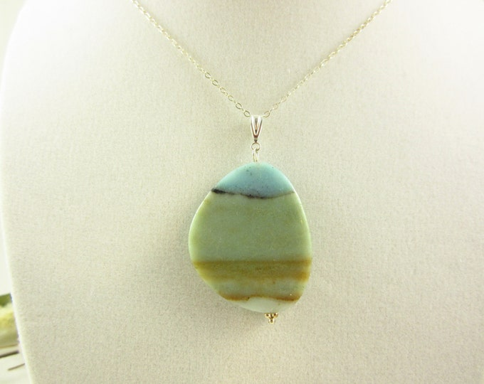 Sterling Silver Agate Pendant Necklace/18inch Necklace/Handmade Necklace/Beachy Necklace/Statement Necklace/Resort Necklace