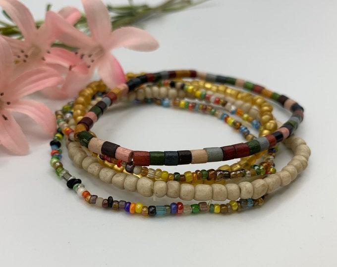 Multi Color Beaded Stack Bracelets, Stackable Bracelet Set, Handmade Stretch Bracelet, Custom Size Bracelets, Boho Jewelry, Custom Jewelry