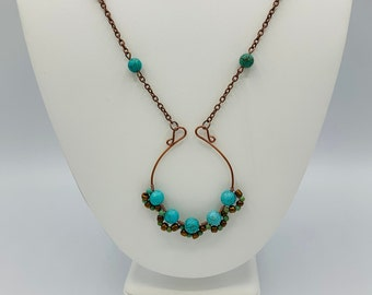 Magnesite Wire Wrapped Necklace/Antique Copper Handmade Necklace/22inch Pendant Necklace/Boho Jewelry/Wire Wrap Jewelry