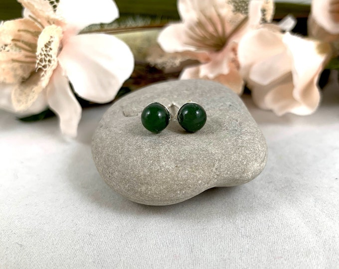 Nephrite Jade Sterling Silver Stud Earrings/Small Handmade Post Earrings