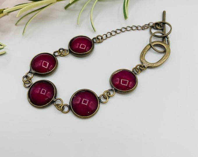 Antique Brass Plated Dark Pink Link Bracelet/8inch Handmade Bracelet/Simple Bracelet/Modern Jewelry