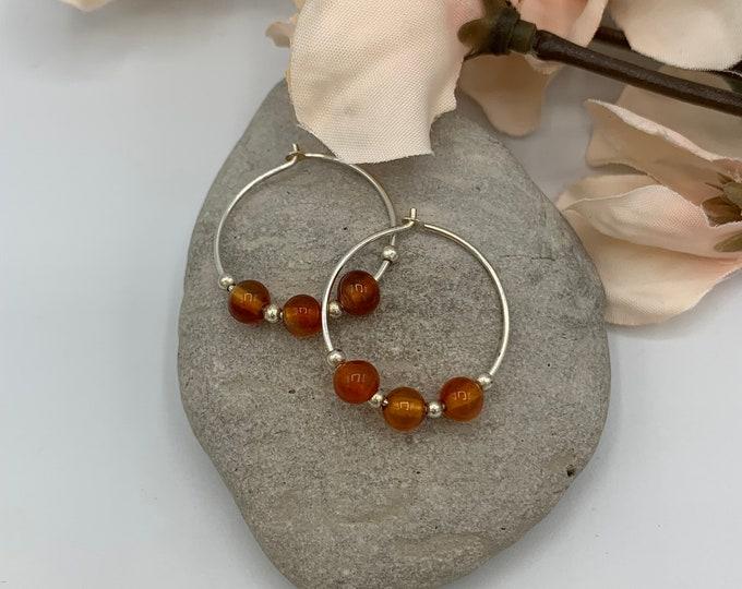 Sterling Silver Carnelian Hoop Earrings/Handmade Earrings/Carnelian Earrings/Small Hoop Earrings/Simple Hoop Earrings