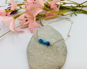 Blue Jasper Sterling Silver Bracelet, 8inch Handmade Bracelet, Delicate Bracelet, Simple Bracelet, Jasper Jewelry