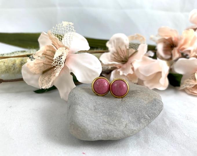 Gold Plated Rhondonite Stud Earrings/Small Handmade Post Earrings