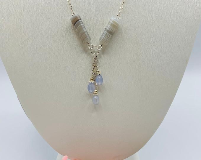 Blue Agate Necklace/Blue Necklace/Sterling Silver Necklace/Handmade Necklace/19inch Necklace/Delicate Necklace/Simple Necklace/Y Necklace