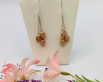 Pink Glass Earrings/Handmade Dangle Earrings/Sterling Silver Earrings/Glass Jewelry/Modern Jewelry/Delicate Jewelry