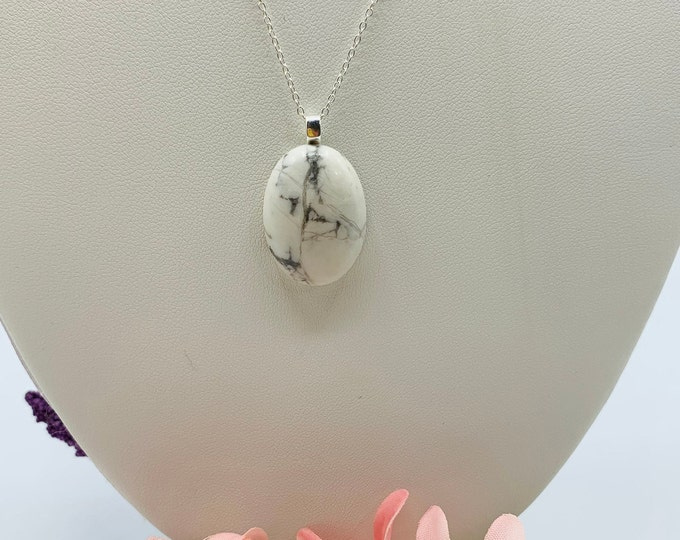 White Howlite Sterling Silver Necklace, Handmade 18inch Pendant Necklace, Howlite Jewelry, Simple Necklace