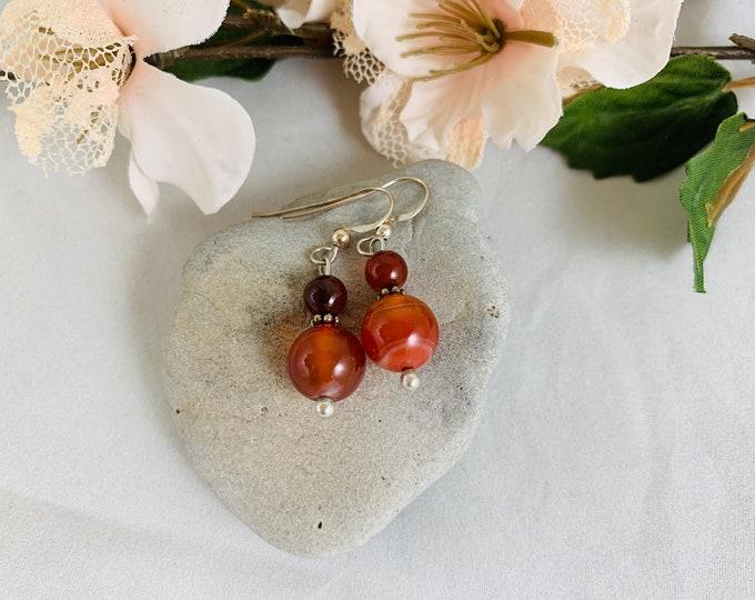 Carnelian Earrings/Dangle Earrings/Sterling Earrings/Handmade Earrings/Carnelian Jewelry/Modern Jewelry/Large Earrings/Sterling Jewelry