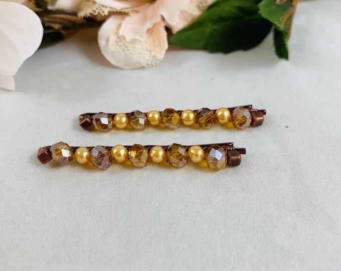 Yellow Pearl Beaded Hair Pins/Beaded Bobby Pins/Hair Accessories/Hair Jewelry/Handmade Hair Pins/Bobby Pins/Boho Accessories/Hair Pins
