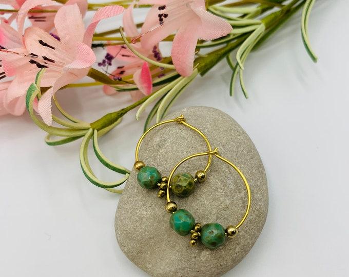 Green Glass Beaded Gold Plated Hoop Earrings, Handmade Earrings, Simple Earrings, Delicate Earrings