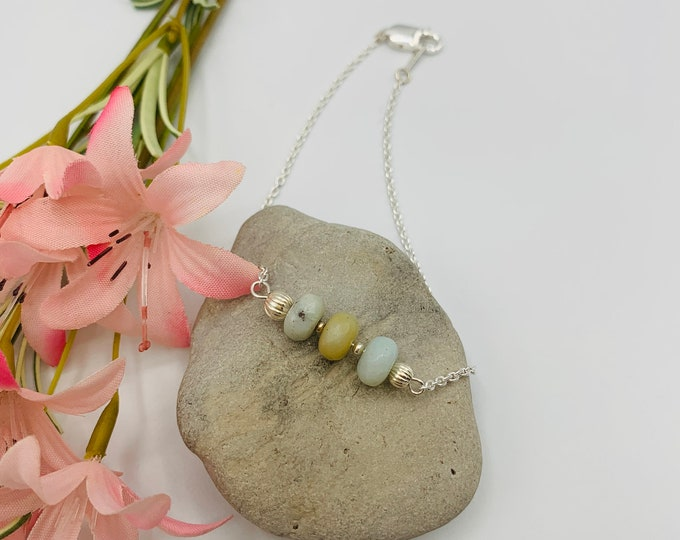 Amazonite Sterling Silver Filled Anklet, Handmade 9.5inch Anklet, Simple Anklet, Delicate Anklet, Amazonite Jewelry