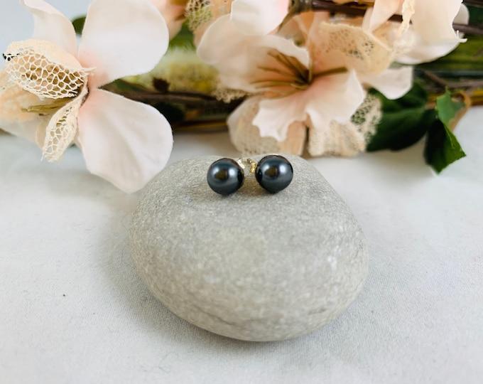 Dark Gray Pearl Silver Plated Stud Earrings/Small Handmade Post Earrings