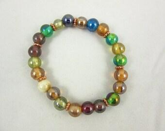 Multi Color Glass Bracelet - Beaded Bracelet - Custom Bracelet - Handmade Bracelet - Boho Jewelry - Avant Garde Jewelry - Custom Jewelry