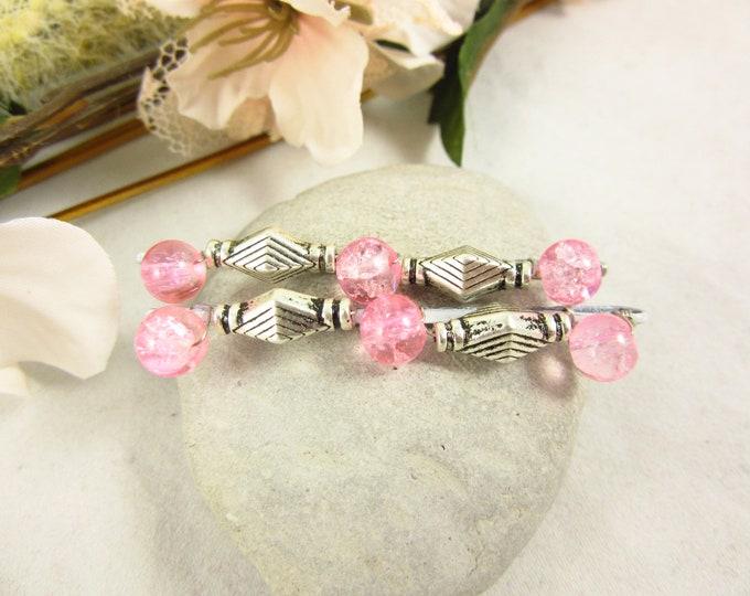 Pink Glass Beaded Hair Pins/Hair Accessories/Bobby Pins/Hair Jewelry/Hair Pins/Handmade Hair Pins/Boho Accessories/Beaded Bobby Pins