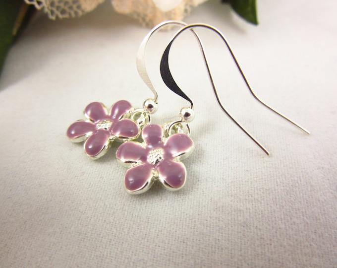 Flower Earrings/Silver Earrings/Dangle Earrings/Delicate Earrings/Teen Jewelry/Tiny Earrings/Valentines Gift/Simple Earrings/Kids Earrings