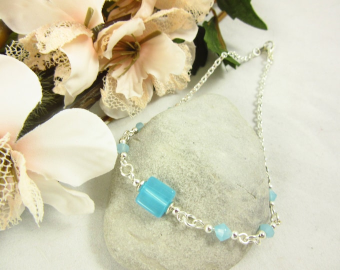 Blue Glass Beaded Anklet/Handmade Anklet/Custom Size Anklet/Silver Anklet/Simple Anklet/Beach Anklet/Resort Jewelry/Summer Jewelry