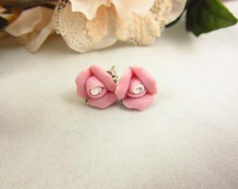 Pink Ceramic Rose Earrings/Stud Earrings/Handmade Earrings/Girls Earrings/Teen Earrings/Delicate Earrings/Small Earrings/Teen Jewelry