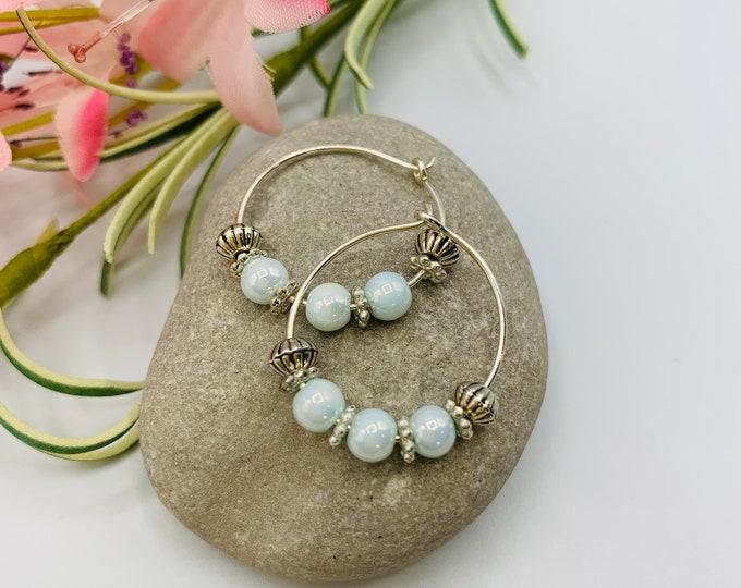 Ice Blue Glass Beaded Silver Plated Hoop Earrings, Handmade Earrings, Simple Earrings, Delicate Earrings