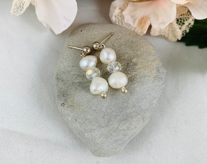 Wedding Jewelry/Sterling Silver Pearl Dangle Earrings/Handmade Earrings/Bridal Jewelry