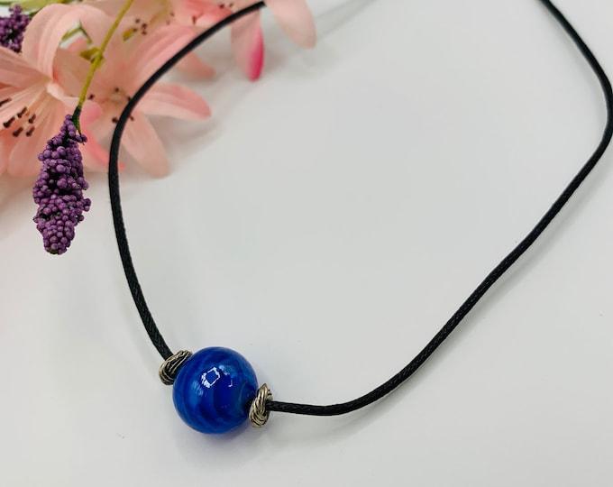 Blue Glass Choker, Handmade Black Cord Choker, 15inch Choker, Boho Jewelry