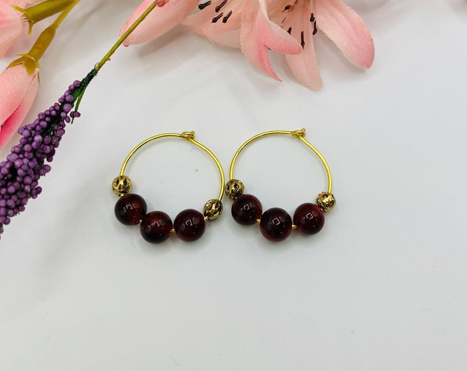 Dark Red Glass Beaded Gold Plated Hoop Earrings, Handmade Earrings, Simple Earrings, Delicate Earrings