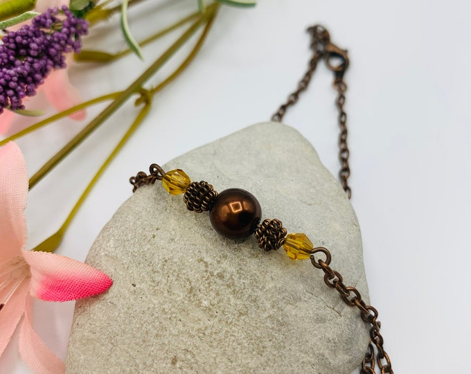 Burgundy Glass Pearl Beaded Anklet/Handmade Anklet/Custom Size Anklet/Silver Anklet/Simple Anklet/Beach Anklet/Resort Jewelry/Summer Jewelry