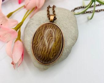 Brown Agate Pendant/Agate Necklace/Pendant Necklace/Handmade Pendant/Antique Copper Necklace/Agate Jewelry/Modern Jewelry/Custom Jewelry