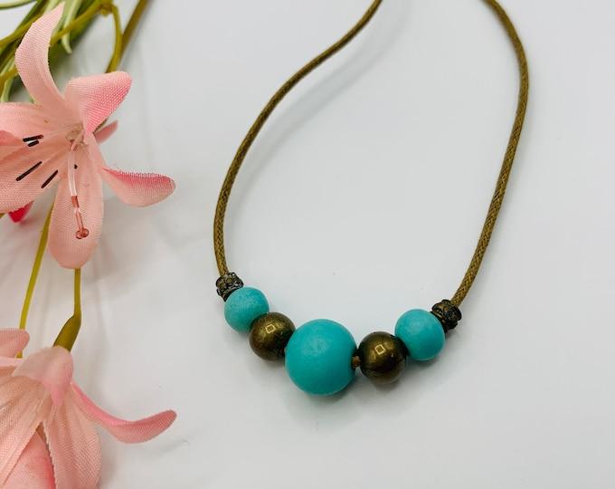Turquoise Wood Choker, Handmade Tan Cord Choker, 15inch Choker, Boho Jewelry