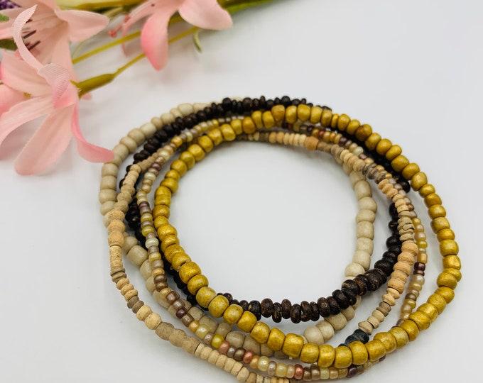 Tan Stack Bracelets/Stretch Bracelet/Handmade Bracelets/Bracelet Set/Beaded Stacking Bracelets/Stackable Bracelets/Custom Bracelets