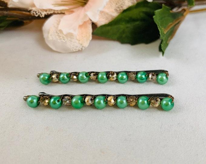 Green Pearl Beaded Hair Pins/Hair Accessories/Bobby Pins/Hair Jewelry/Hair Pins/Handmade Hair Pins/Boho Accessories/Beaded Bobby Pins