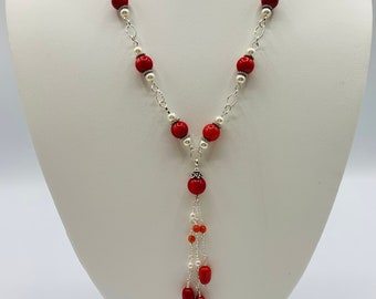 Red Coral Sterling Silver Necklace, Handmade Y Necklace, Simple Necklace, 18inch Necklace, Coral Jewelry