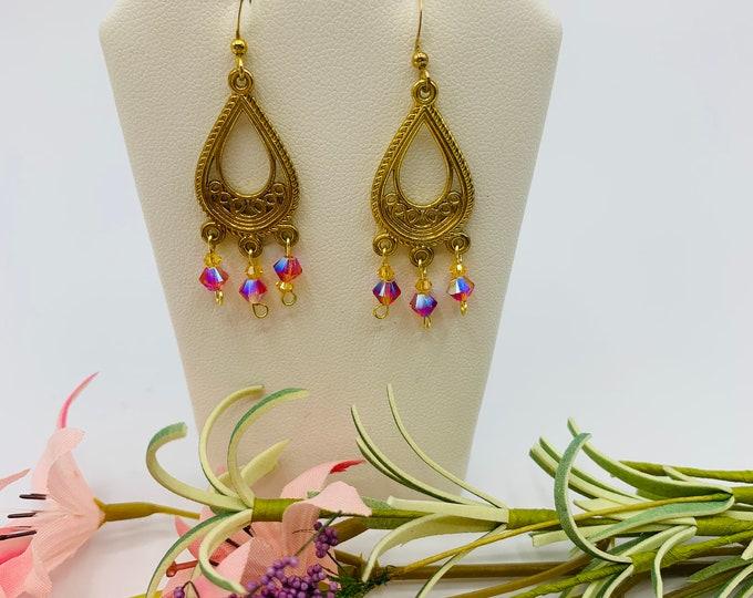 Pink Crystal Gold Plated Chandelier Earrings, Handmade Dangle Earrings, Boho Earrings, Modern Jewelry, Boho Jewelry