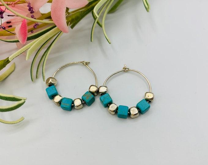 Magnesite Beaded Silver Plated Hoop Earrings, Handmade Earrings, Simple Earrings, Delicate Earrings