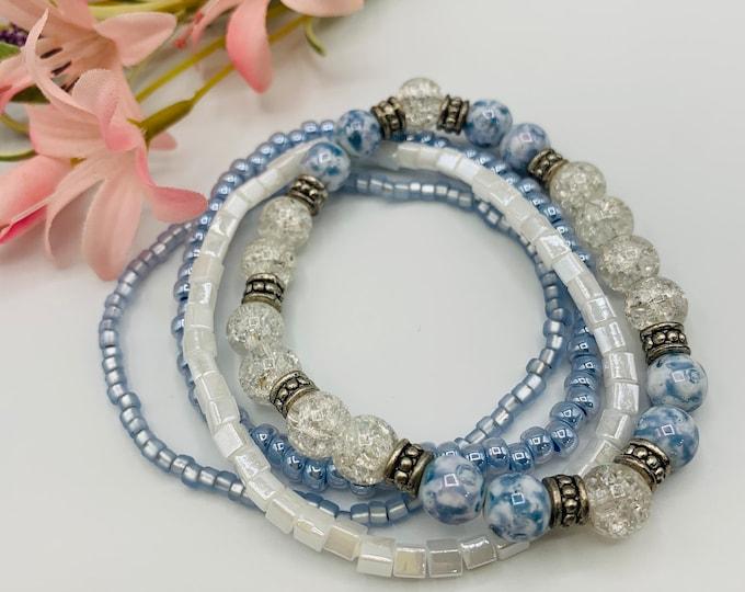 Blue Beaded Stack Bracelets, Stackable Bracelet Set, Handmade Stretch Bracelet, Custom Size Bracelet Set, Boho Jewelry, Custom Jewelry