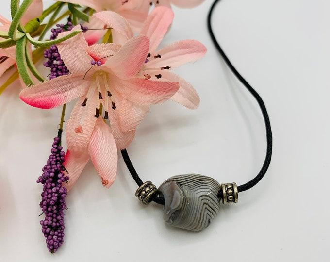 Black Stripe Agate Choker, Handmade Black Cord Choker, 15inch Choker, Boho Jewelry