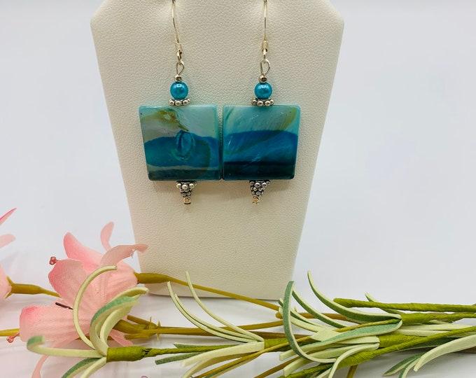 Blue Shell Silver Plated Dangle Earrings, Handmade Earrings, Shell Jewelry