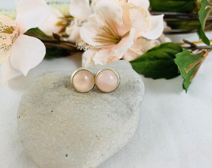 Silver Plated Rose Quartz Stud Earrings/Small Handmade Post Earrings