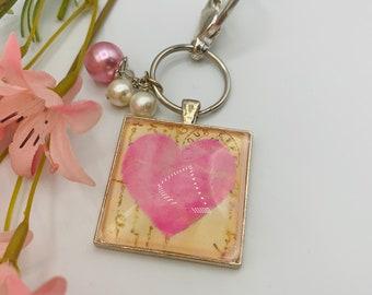 Pink Heart Keychain, Handmade Silver Plated Keychain, Small Gift for Her, Keychain Gift, Key Chain