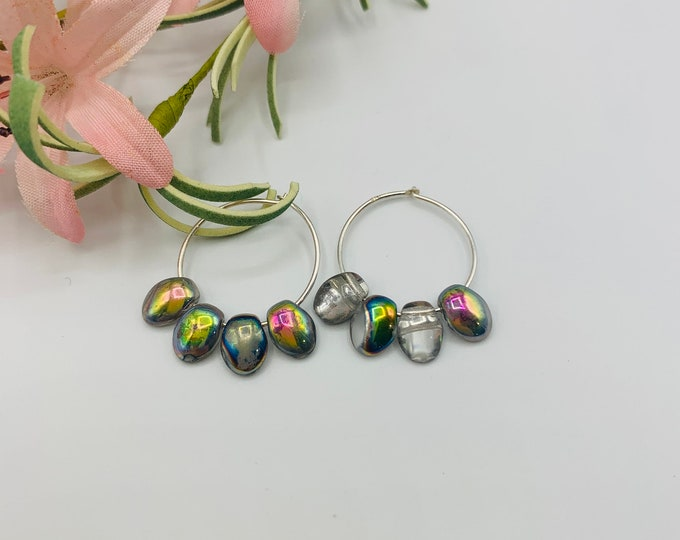 Sterling Silver Iridescent Silver Glass Hoop Earrings/Handmade Earrings/Iridescent Silver Glass Earrings/Small Earrings/Simple Earrings