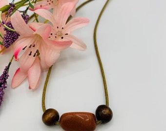 Goldstone and Wood Choker, Handmade Tan Cord Choker, 15inch Choker, Boho Jewelry